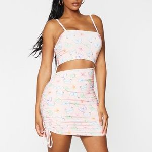 Assorted Butterfly Drawstring BodyCon Dress